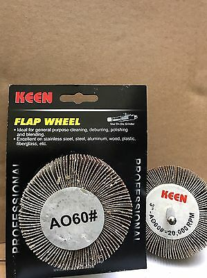 "Retail Pack of 2, #23010, Coarse 60 grit, KEEN 3"" x 1"" x 1/4"" Mounted Flap Wheel"