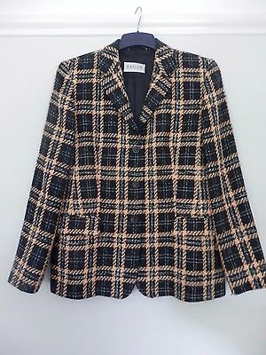 Basler Black White And Salmon Pink Checked Jacket Size 14