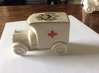 crested china ambulance . crest for county borough of grimsby.
