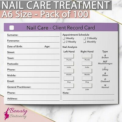 Nail Care Client Record Card Treatment Consultation Therapists A6 / 100 Pack