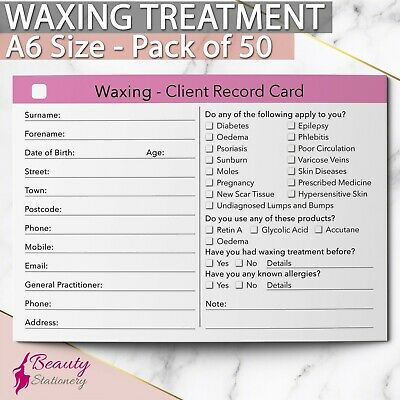 Waxing Client Record Card Treatment Consultation Salon Therapists A6 / 50 Pack