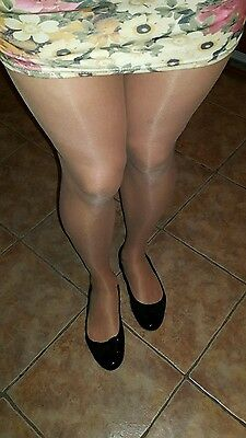 Pre-owned Tan tights with reinforced toe.