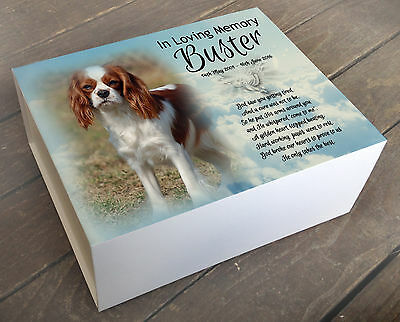 Personalised memory box, urn memorial casket Cremation, Cavalier king charles