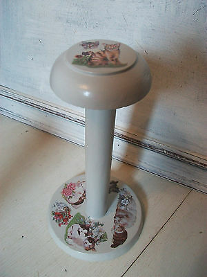 Vintage wooden hat stand millinery stand decorated with cat transfers