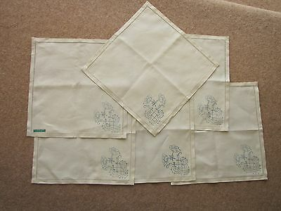 Set Of 6 Irish Linen Napkins Stamped For Embroidery - New