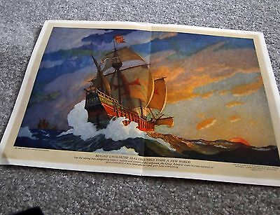 National Geographic Maps - 1928 - N C Wyeth - Columbus - Beyond Uncharted Seas
