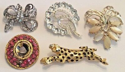 Vintage lot of 5 rhinestone thermoset and enamel brooches for repair or crafts