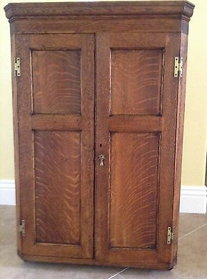Antique English Oak Early Victorian Hanging Corner Cabinet - PICK UP ONLY