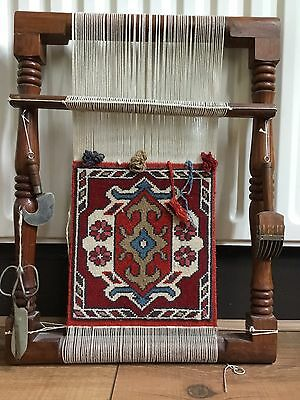 Saudi Arabian Wooden Weaving Loom With Tools And Tapestry LISTED ON OTHER SITES!