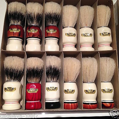 12X REX GERMAN GERMANY SHAVING BRUSH VULKANISIERT REINE BORSTEN IN BOX KNOT 21mm