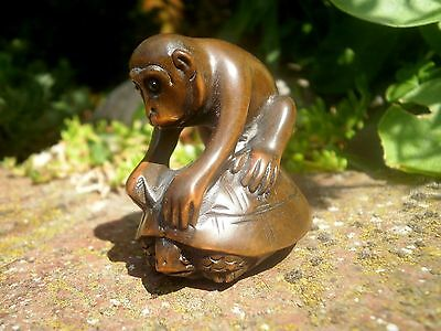 Hand Carved wood netsuke monkey on tortoise, vintage / antique style figurine
