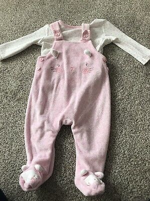 Girls 3-6 Mths Dungarees And Long Sleeved Top