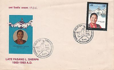 Late PASANG LHAMU SHERPA, Mt. EVEREST Summiteer, First Day Cover-1994, FDC, New.
