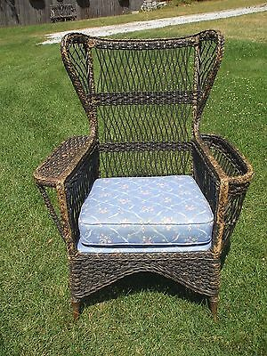 Paine Furniture Mass. Antique Wicker Wing Back Chair W/ Magazine Holder