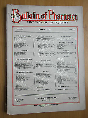 Bulletin of Pharmacy Magazine March 1912 Apothecary Drug Store