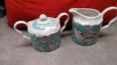 Brand New- 222 Fifth Piper Turquoise Cream And Sugar Set