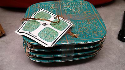 BRAND NEW- BNIB  222 FIFTH MADRID GREEN SET of 4 DESSERT/APPETIZER PLATES