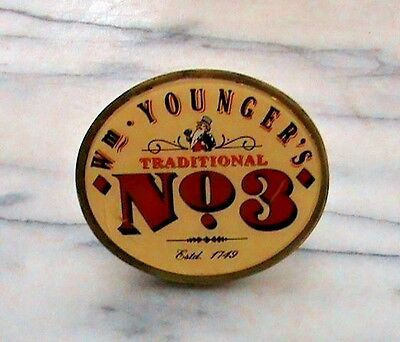 YOUNGER'S TRADITIONAL No. 3 REAL ALE METAL BEER PUMP CLIP SIGN Complete