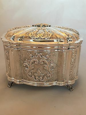 Gorgeous Sterling silver Judaica Esrog Box with Scroll Chased design