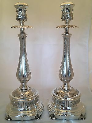 Tall Judaica Pair of 925 Sterling Silver Candlesticks 1146 grams