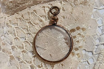 Antique Edwardian WW1 Rolled Gold Round Double Photo Locket, Bevelled Glass