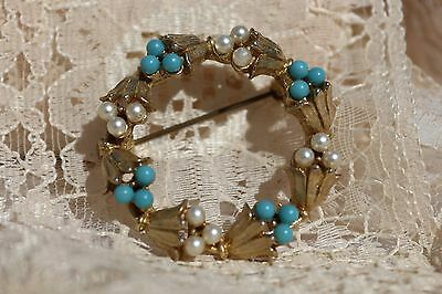 Vintage Brooch, Faux Pearl & Turquoise Goldtone Open Ring Brooch