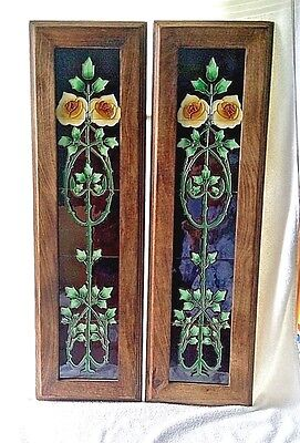 Pair of Art Nouveau Tube lined  FIREPLACE TILE PANELS