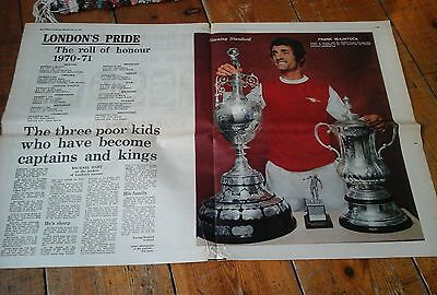 Evening standard Arsenal 1971 Double Trophies mid pages Poster Frank McLintlock