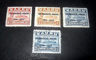 K.G.V 3 M/H & 1 FINE USED NAURU SILVER JUBILEE STAMPS FROM 1935,,ONLY 99p