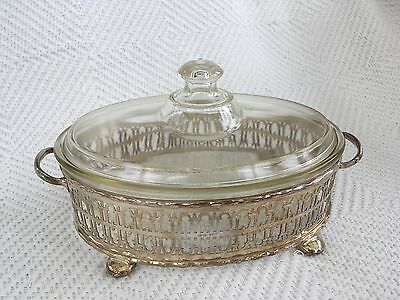 Vintage EPNS Serving Frame with glass dish and lid