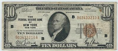 1929 $10 Ten Dollar Bill National Currency Brown Seal Note - New York, NY
