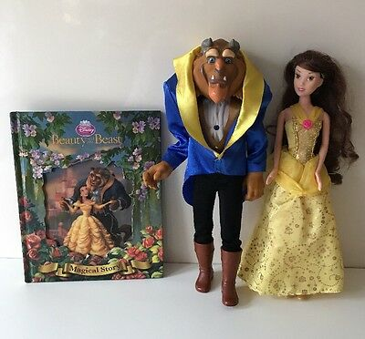 Disney Beauty And The Beast, Belle & Transforming Beast Doll Toys & Book Bundle