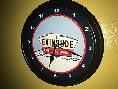 Evinrude Outboard Boat Motor Garage Man Cave Wall Clock Advertising Sign4