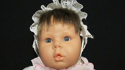 "Vintage Berjusa 19"" Stuffed Girl Baby Doll With Rubber Head And Blue Eyes Made I"