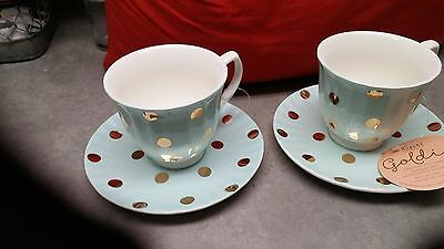 Brand New- Two (2) Robert Gordon (Australia) Retro Blue Tea Cup & Saucer Sets