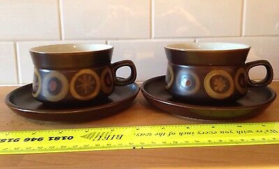 Two 2 Denby Arabesque Samarkand Large Breakfast Cups Saucers Vintage Retro 1960