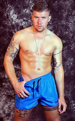 blue SHINY nylon shorts  S M L Xl 2XL VINTAGE RETRO soft style gym Schuta