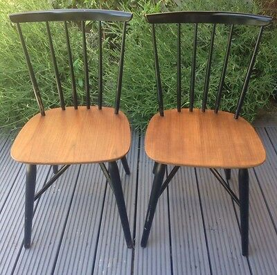 A Pair of Danish Farstrup Teak & Black Lacquer Dining Chairs