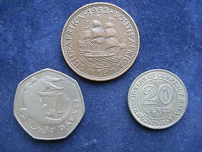 3 interesting world coins Africa Malaysia Gambia (ref D1)