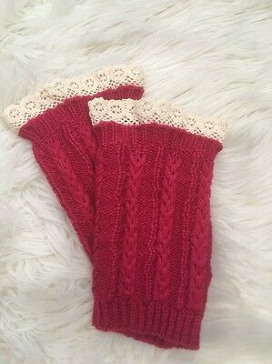 NWOT Pink Ivory Chunky Knitted Crochet Boot Leg Warmer Accessory One Size