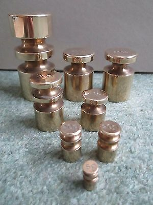 Metric Brass Scale Weights ( Churn Design ) Set Of 8