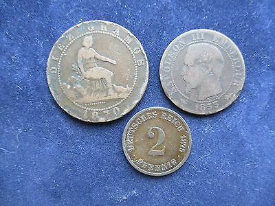 3 interesting world coins France Spain Germany (ref D1)