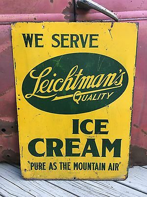 Leichtman's Ice Cream Sign Double Sided General Store Advertising