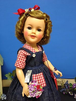 """Tagged Original 17"""" Ideal Shirley Temple Doll Rebecca Of Sunnybrook Farm Outfit!"""