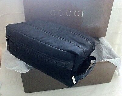 1000% Genuine Gucci Large Black Wash/toiletries Bag, With Box & Tissue