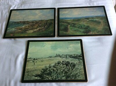 3 Golfing scene place mats, wall hangings, Royal Troon, St Andrews, Turnberry