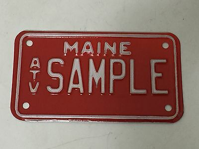 """Sample Maine ATV License Plate - Red Motorcycle Size - 4"""" x 7"""" Vintage NOS"""