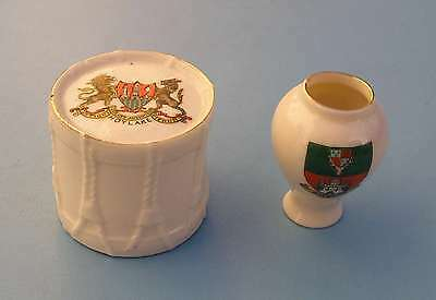Vintage Arcadian Crested China. Ww1 Military Drum. And A Vase.