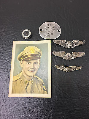 WWII  USAAF Pilot Navigator USNR Sterling Wings Grouping Photo