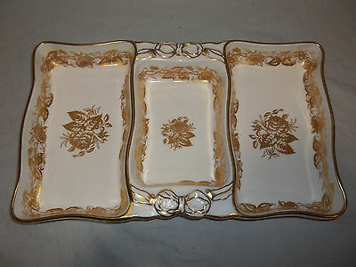 "13"" x 8"" Serving Tray/ 3 Sections - Hammersley: Rose Point - Bone China Gold"